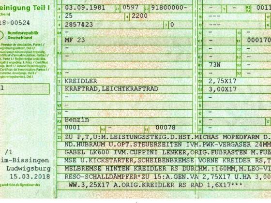 KREIDLER FLORY - Fahrzeugschein mit Eintragung