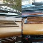Fensterschlüssel und Lautsprechergitter vor und nach der Restauration